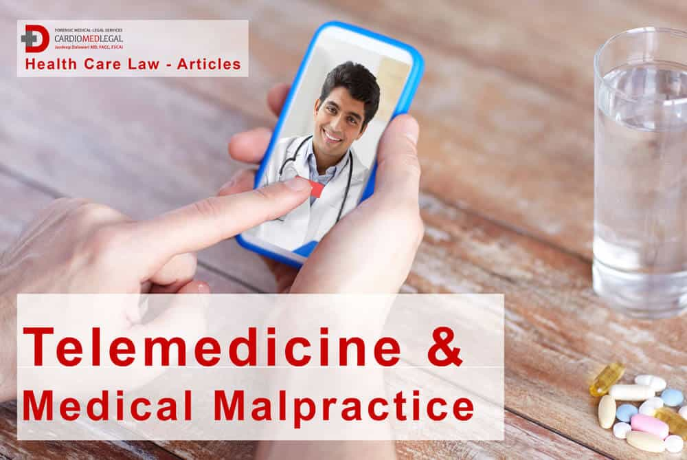 mobile phone with doctor on screen for telemedicine consult, potential for medical malpractice liability.